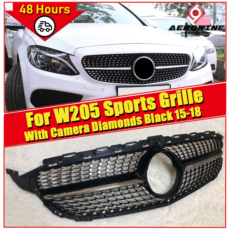 For MercedesMB W205 Sports Front Diamonds Grille Grill C Class C180 C200 C230 C250 C280 C300 ABS Black Tape camera Grills 2015+ image