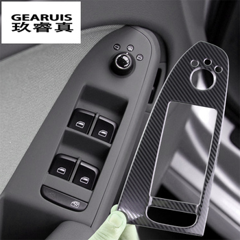 Car Styling Door Armrest panel covers Stickers for Audi A4 B8 A5 Carbon fiber Window Glass Lifting Buttons Trim Auto Accessories 4pcs real carbon fiber interior window door panel trim cover inner sticker strip for audi a4 b8 a5 2010 2011 2012 2013 2016