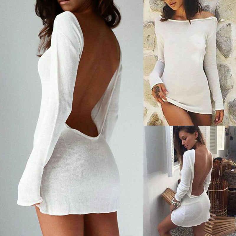 여성 섹시한 중괄호 솔리드 화이트 긴 소매 오픈 백 레스 미니 바디 드레스 쉬어 투명한 드레스