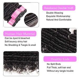 Image 2 - Sapphire Brasilianische Haar Weben 3 Bundles Mit 4*4 Spitze Schließung Remy Haar Tiefes Lockiges Menschliches Haar Tiefe Welle bundles Mit Schließung