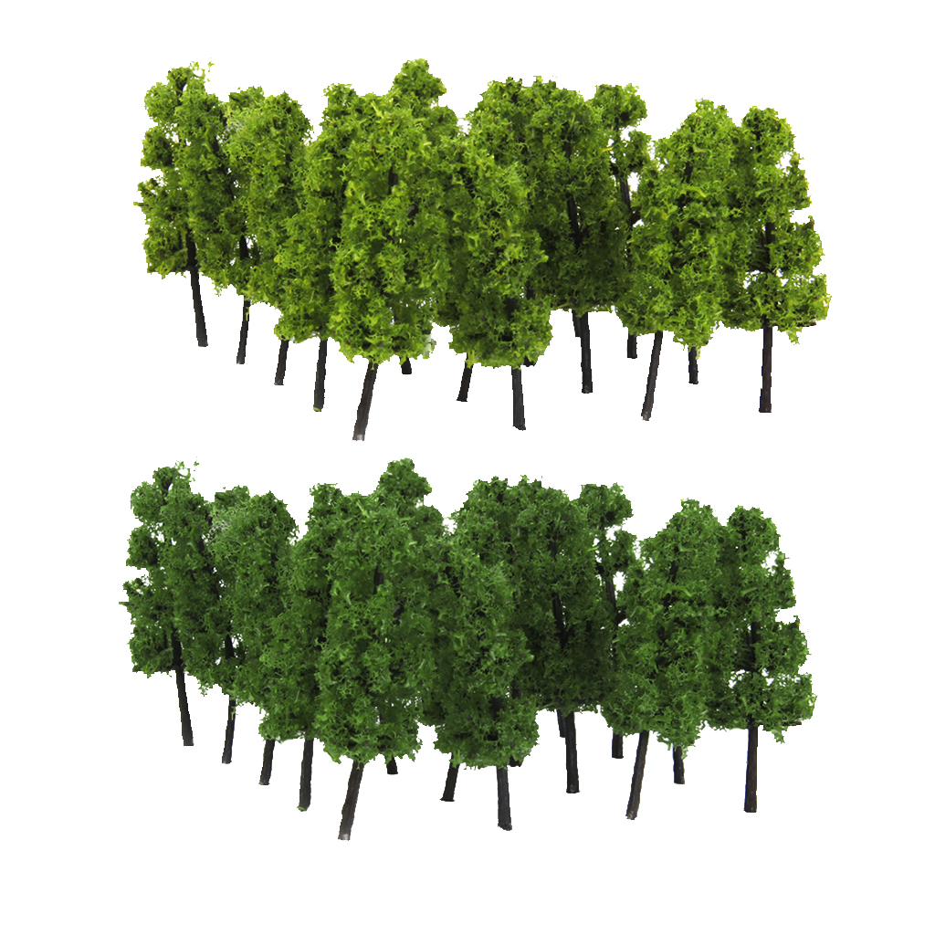 20x Dark/Light Green Tree Model Train Railway Forest Wargame Scenery Layout Z