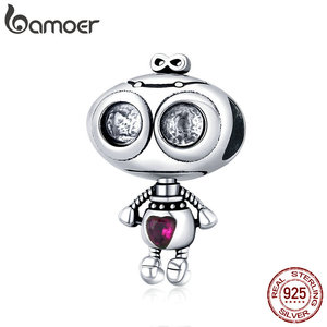 bamoer Genuine 925 Sterling Silver Fall in Love Robot Metal Beads for Women Charm Bracelets Original Design Jewelry SCC1524(China)