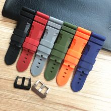 MERJUST 24mm 26mm Orange Black Green Red Gray Silicone Rubber Watchband For PAM 44MM 47MM Case Watch Strap Bracelet Wristband цена 2017