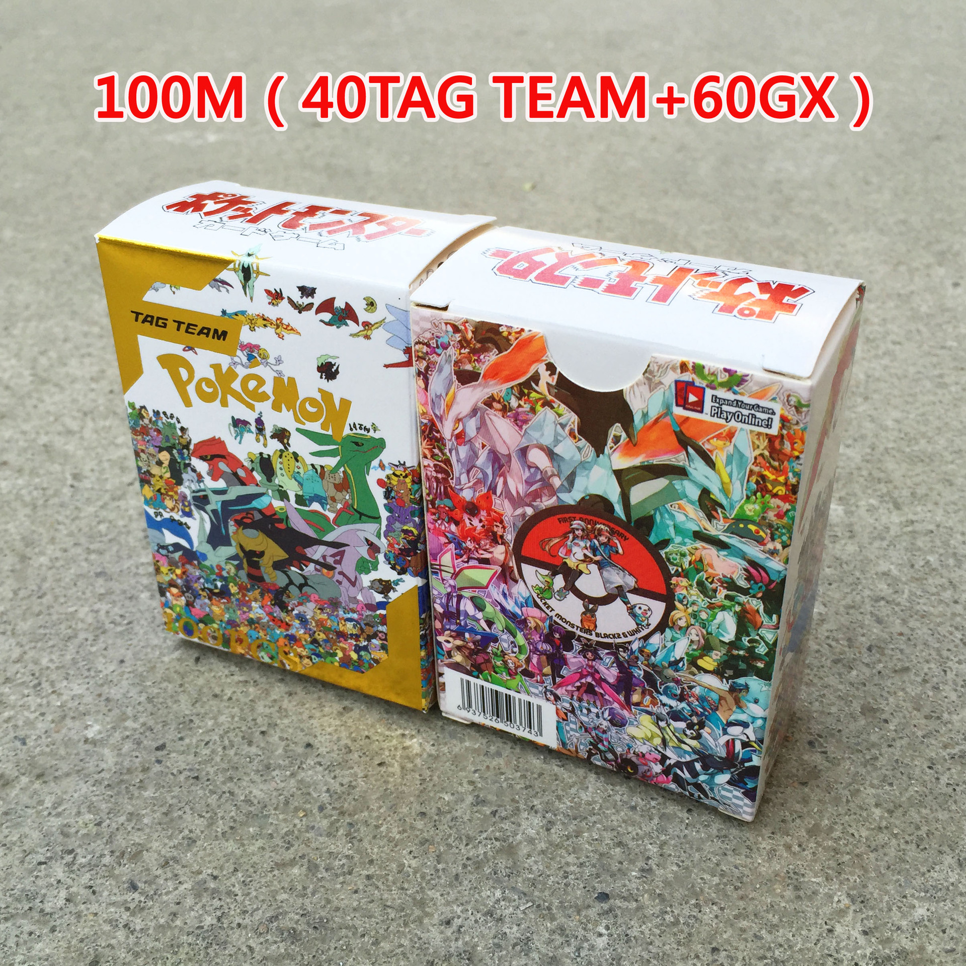 TAKARA TOMY Pokemon New 100pcs Tag Team Battle Toys Hobbies Collectibles Game Collection Anime Cards for Children Christmas Gift