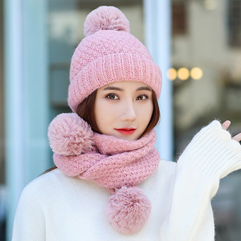 Winter Hat And Scarf Set For Women Kitted Wool Kitted Hats For Girls Thick Warm Pom Pom Hat Scarf Set Keep Warm