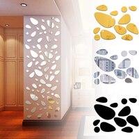 Pegatinas de pared autoadhesivas removibles, adhesivos de guijarros 3D, superficie de espejo, arte para Mural de vinilo adorno para el salón, decoración del hogar, 12 Uds.