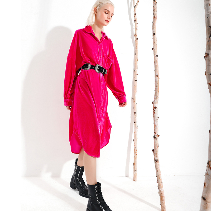 New Fashion Style Rose Red Velvet Loose Brief Long Shirt Dress Fashion Nova Fashion Nova Clothing