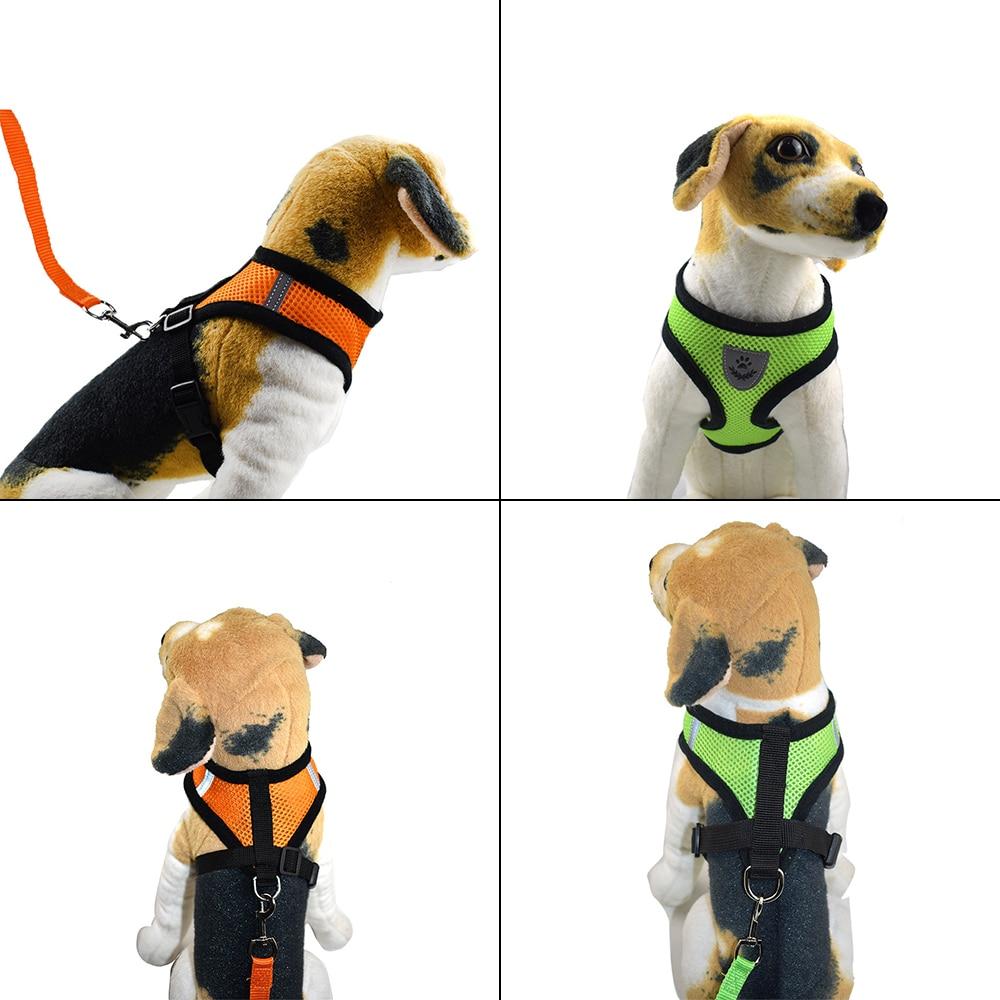 Dog Harness for Chihuahua Pug Small Medium Dogs Nylon Mesh Puppy Cat Harnesses Vest Reflective Walking Lead Leash Petshop Sets