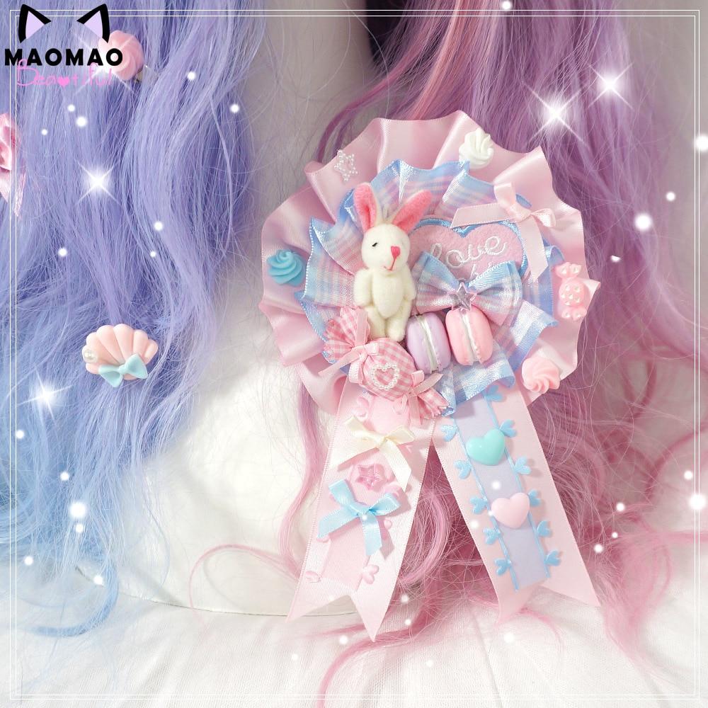 Blue Pink Candy LOVE Rabbit Hand Made Badge Ap GIRL'S Brooch Hair Accessories Harajuku Lolita Barrettes