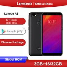 Globalny rom Lenovo A5 3GB 16GB 32GB smartfon MTK6739 czterordzeniowy 5.45 cal ekran 4G LTE telefony 4000mAh face id czytnik linii papilarnych