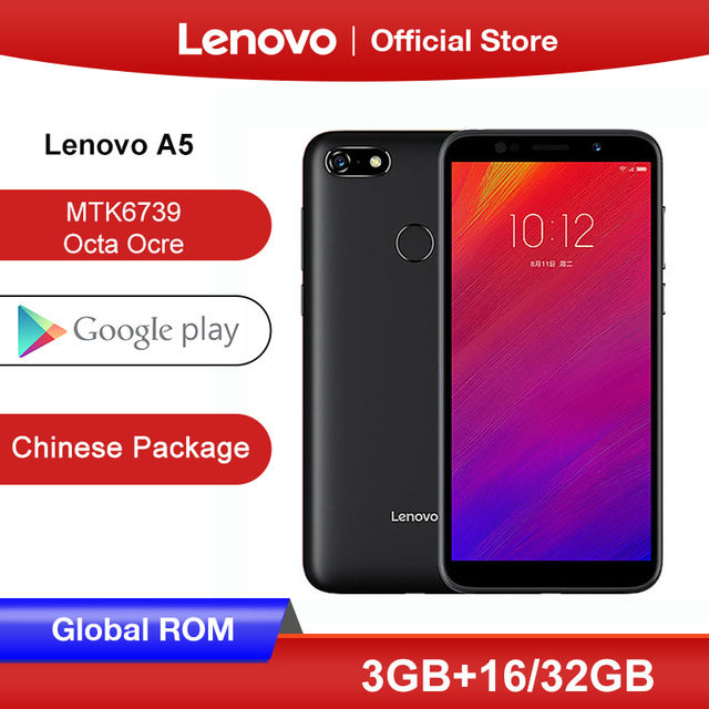 ROM mondial Lenovo A5 3GB 16GB 32GB Smartphone MTK6739 Quad Core 5.45 pouces écran 4G LTE téléphones 4000mAh visage ID empreinte digitale