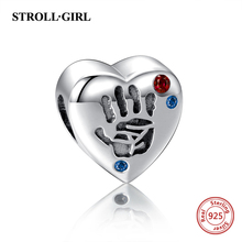 New arrival 925 sterling silver Beads Heart Shape palm print Charms fit original Pandora bracelet jewelry Making for women gift стоимость