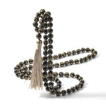 108 три слова Мантра обсидиан мала бисерные и ожерелье с узелками благословение медитация Йога Тибетский Japamala кисточки ювелирные изделия