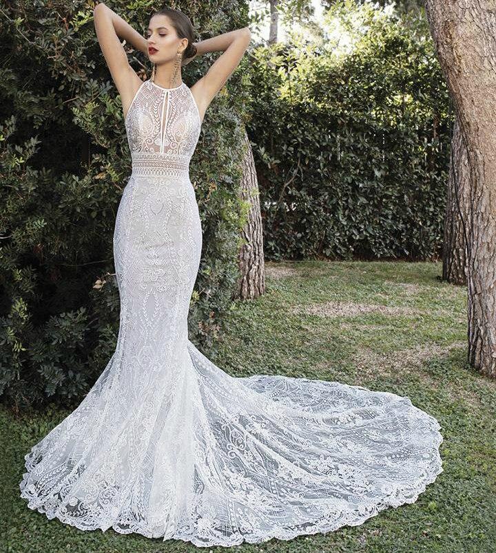 New Sexy Long Wedding Dress 2021 High Neck Sleeveless Court Train Trouwjurk Lace Bridal Gowns Robe De Mariee Sukienki