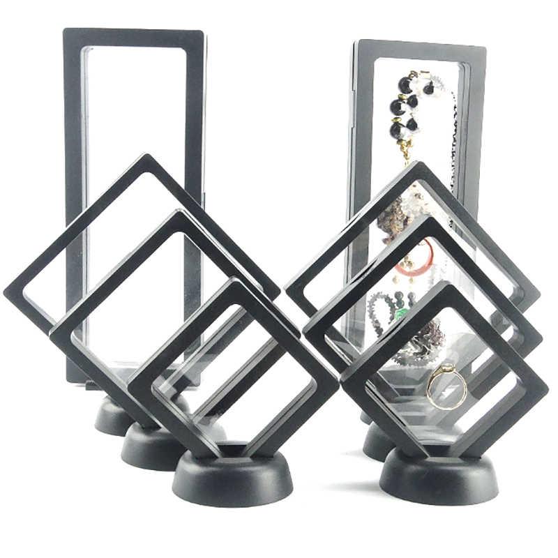 Cajas de soporte de joyería de gemas caja de exhibición de joyería transparente anillo colgante flotante caja de soporte monedas de joyería favores de fiesta