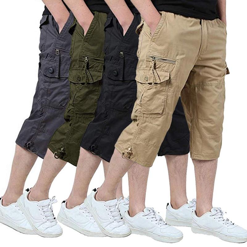 Classic Cargo 3/4 Pants Men Casual Sports Calf Length Military Trousers Vintage Pockets Short Pants Man Tactical Pants