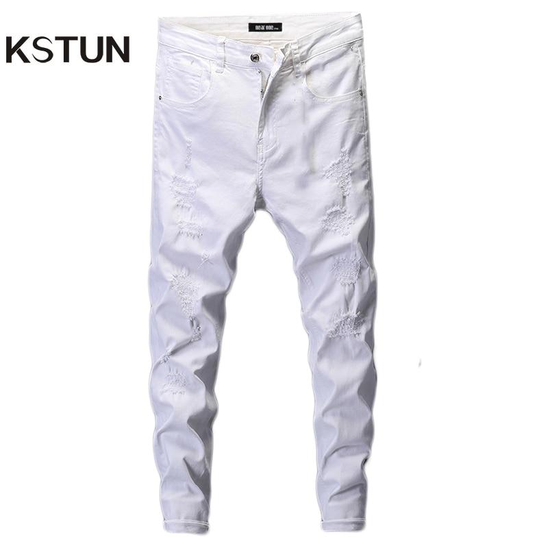 Ripped Jeans For Men Skinny White Jeans Elastic Casaul Denim Pants Mens Jeans Brand 2019 Streetwear Biker Jeans For Man Hip Hop