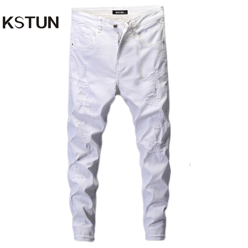 Ripped Jeans for Men Skinny White Jeans Stretch Denim Pants Jeans Mens Jeans Brand Streetwear Biker Jeans Male Hip hop Size 42