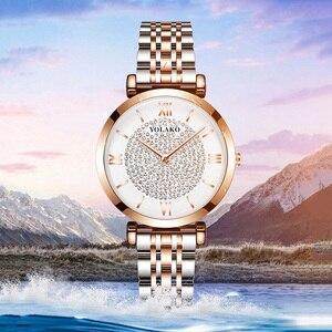 Image 5 - فاخر كريستال نساء ساعات يد 2019 أفضل ماركة السيدات ساعة ماسية أنثى مقاوم للماء ساعة relogio femininozegarek damski