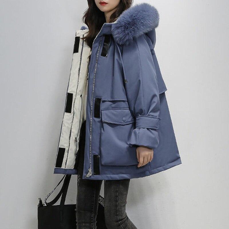 Manteau Femme Hiver Coat Winter Jacket Parka Thicken Fur Warm Parkas Big Pocket Loose Oversized Ladies Hooded Outwear Ukraine
