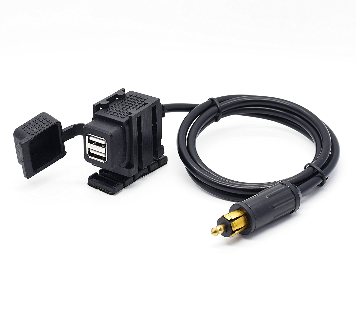 Motorcycle 2.1A Dual USB Charger Socket Power Adapter With 180cm Cable for BMW DIN Hella Plug Phone / iPhone / GPS SatNav