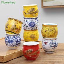 De cerámica de porcelana té y café de Yerba Mate taza de recipientes para bebidas Kung Fu juego de tazas de té de doble capa de aislamiento taza de agua