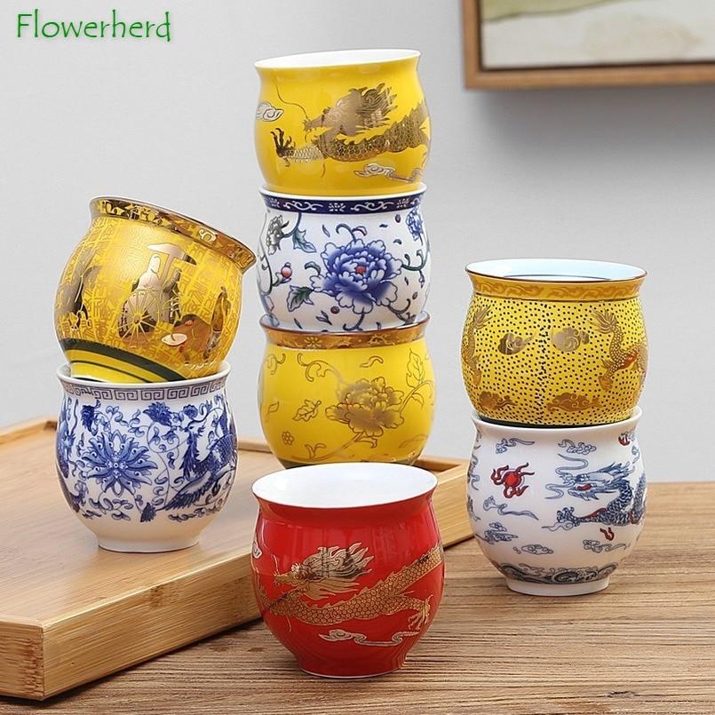 Seramik porselen çay kahve Yerba Mate bardak Teaware Drinkware Kung Fu çay bardağı seti çift katmanlı yalıtım su bardağı