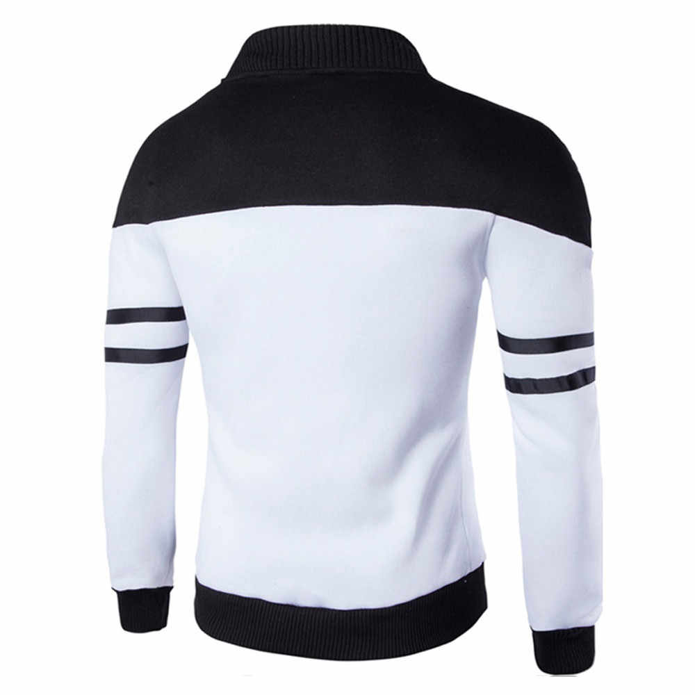 2019 moda ve rahat ve günlük sıcak erkek sonbahar kış fermuar spor Patchwork ceket uzun kollu ceket damla nakliye 18nov21 sıcak