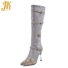 JK Snake Skin Boots Women Mid-Calf High Heels Boot Ladies Pointed Toe Buckel Shoes Female Zip Shoes Sexy Party Shoes Winter(China)
