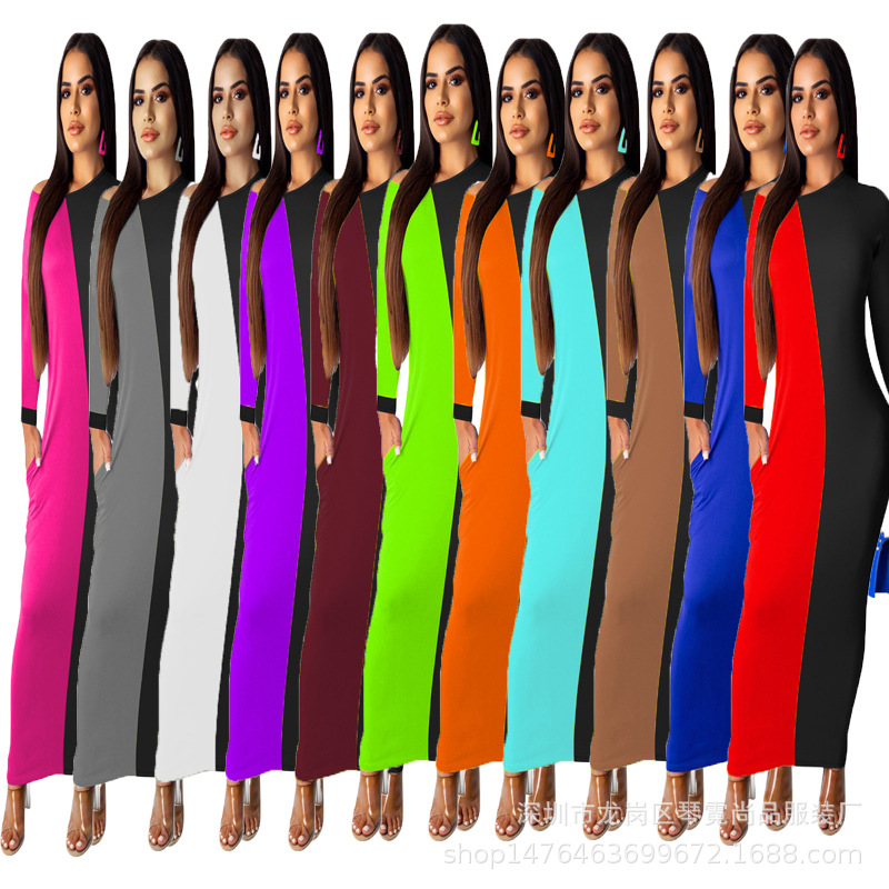 2020 Europe And America New Style Irregular Dress Mixed Colors Long Skirts Multi-color Multi-Code Women's