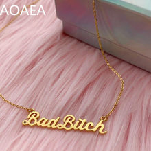 Ожерелье с именной табличкой «плохая сука»-феминистское серебро или золото, дикий цветок вермиля + ко. Подарок на день Святого Валентина