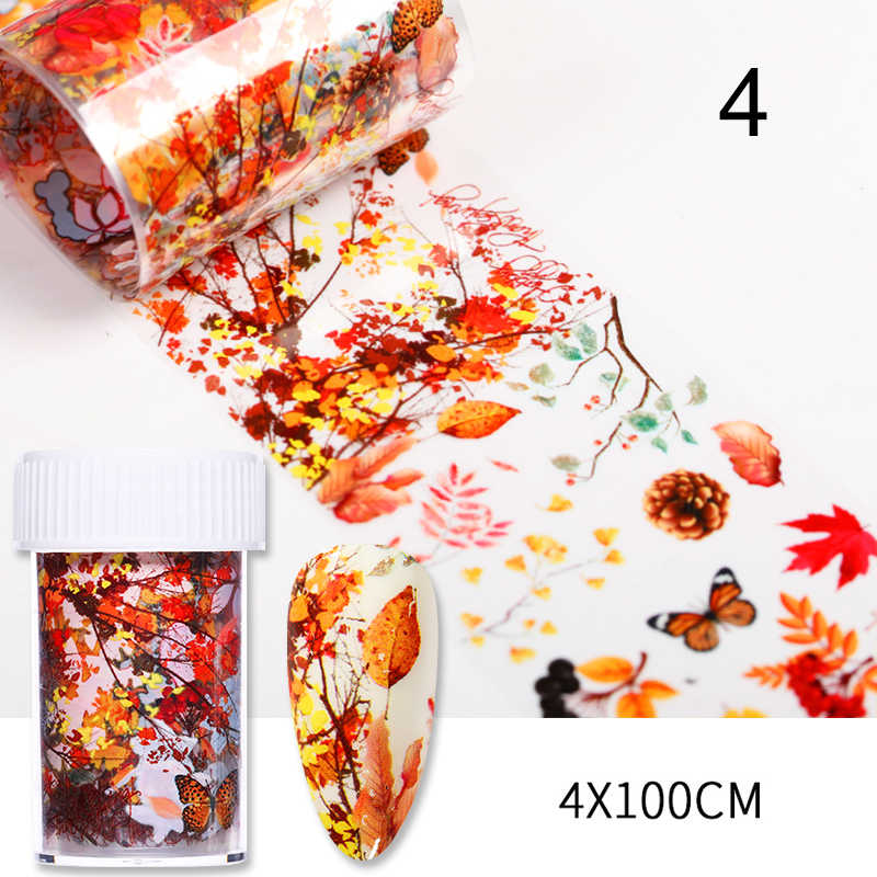 1 Box Nail Stickers Herfst Maple Leaf Nail Serie Folies Nail Art Transfer Sticker Papier Nail Art Diy Decoraties Gereedschap