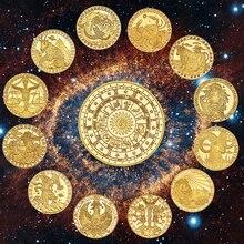 WR 12 созвездия зодиака позолоченные Коллекционные монеты оригинальные монеты набор держатель вызов монета креативный подарок Прямая поставка