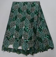 (5 yards/piece) high quality hand cut green African lace soft velvet lace with gemstones and sequins for wedding dresses