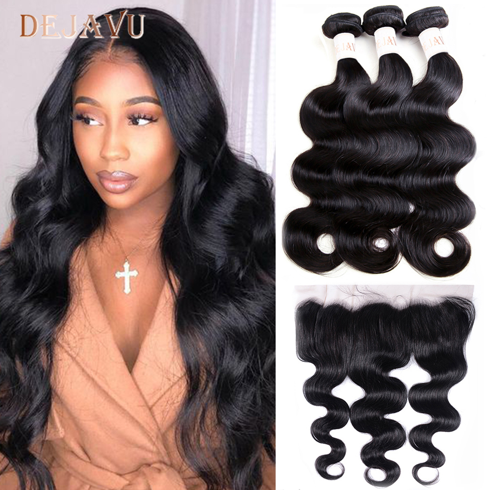 DEJAVU Body Wave Bundles With Closure Brazilian Hair Bundles With Frontal Non-Remy High Ratio Human Hair Frontal With Bundles