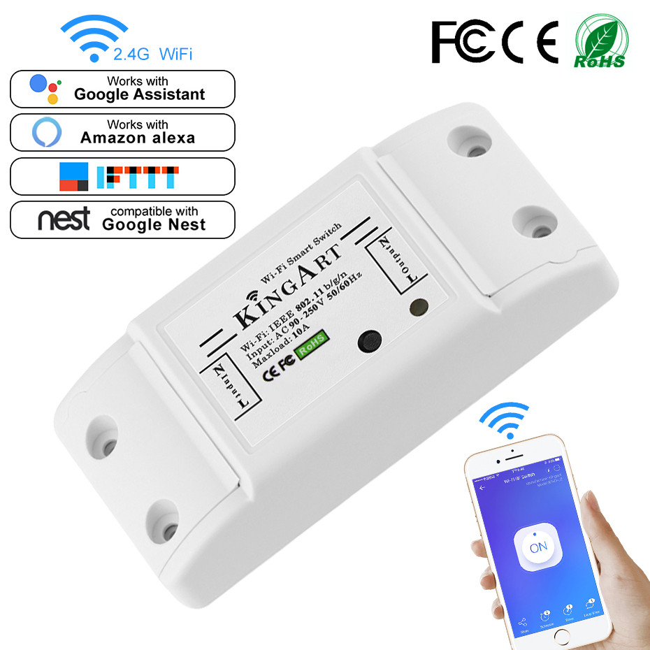 Smart WIFI Control Switch Accessory Anywhere APP Remote Timing Turn ON / OFF Home Electricity AC90-250V Work With Google Home