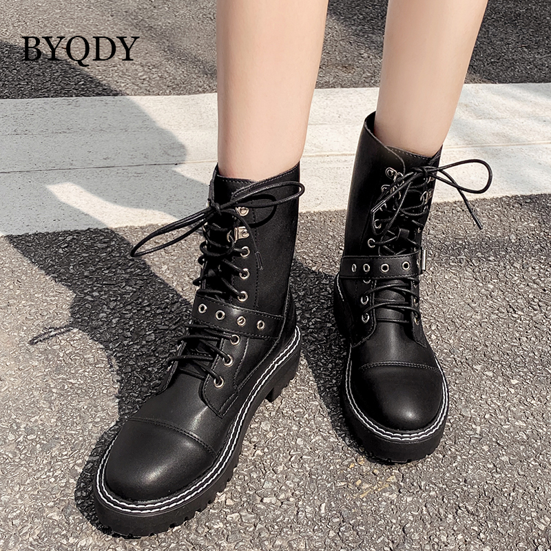 BYQDY Sexy Woman Ankle Boots Round Toe Metal Decoration Lace-up Chunk Low Heels Autumn Winter Shoes Size 40