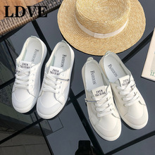 2019 New Spring Tenis Feminino Lace-up White Shoes Woman Pu Leather Solid Color Female Shoes Casual Women Shoes Sneakers недорого