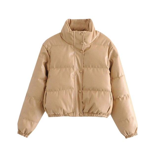 KPYTOMOA Women Fashion Faux Leather Padded Jacket Thick Warm Parka Coat Vintage Long Sleeve Female Outerwear Chic Tops
