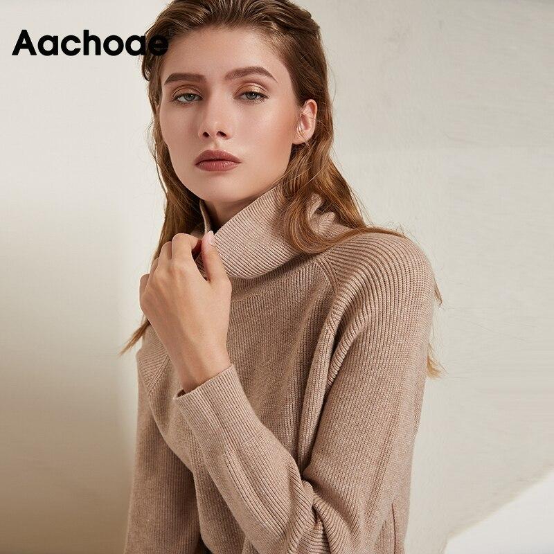 Aachoae Solid Knitted Long Dress Women Autumn Winter Turtleneck Long Sleeve Sweater Dress Lady Split Loose Casual Dress Vestidos 4