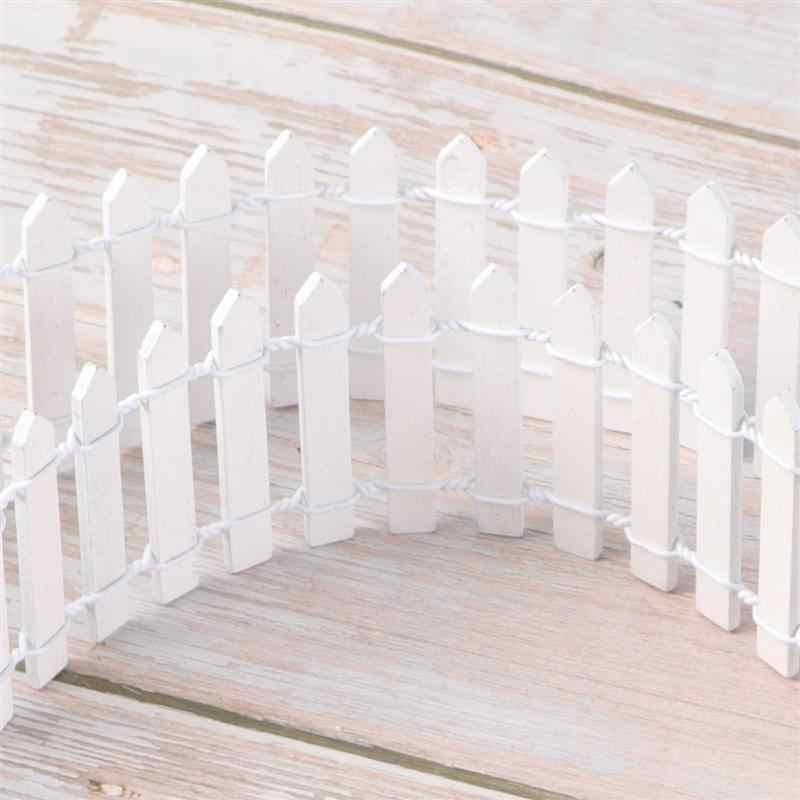 100 سنتيمتر x 5 سنتيمتر صغيرة صغيرة الخشب سياج لتقوم بها بنفسك منزل مصغر الجنية حديقة مايكرو وعاء النبات ديكور بونساي تررم حلية (أبيض)