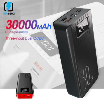 Bank mocy 30000mAh typ c Micro USB szybki ładowania Powerbank wyświetlacz LED przenośna bateria zewnętrzna ładowarka do tablet z funkcją telefonu tanie i dobre opinie TOPZERO Bateria litowo-polimerowa Wsparcie szybkie ładowanie Z latarką Rok wybudowania kable Cyfrowy wyświetlacz Ładowarki i akumulatora w 1