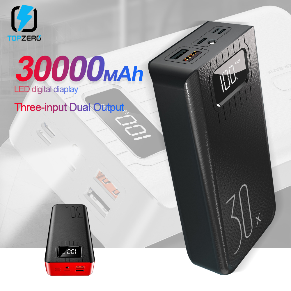 Power Bank <font><b>30000mAh</b></font> TypeC Micro USB QC Fast Charging Powerbank LED Display Portable External <font><b>Battery</b></font> Charger For <font><b>phone</b></font> tablet image