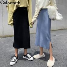 Midi Skirts Split Knitted Elegant Korean-Style Straight Winter Women Mid-Calf Colorfaith