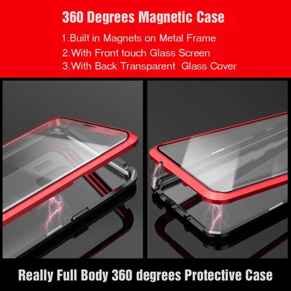 360 جهين الزجاج المغناطيسي حقيبة لهاتف سامسونج غالاكسي S9 S8 S10 زائد ملاحظة 9 8 A30 A7 A9 مغناطيس معدني الزجاج المقسى Capinhas