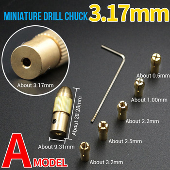 цена на 7Pcs Miniature Electric Drill Brass Chuck Self-tightening Small Electric Clip Drill 0.5-3.0mm For Power Tool Accessories
