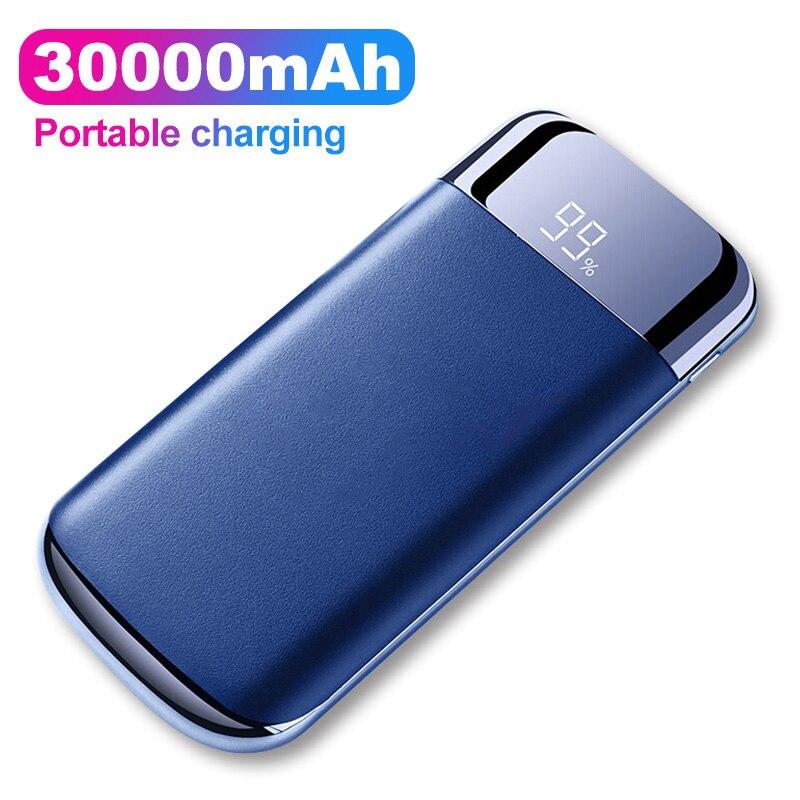 30000mAh Power Bank 2 USB LED Powerbank przenośna ładowarka do telefonu komórkowego dla Xiao mi mi iphone X