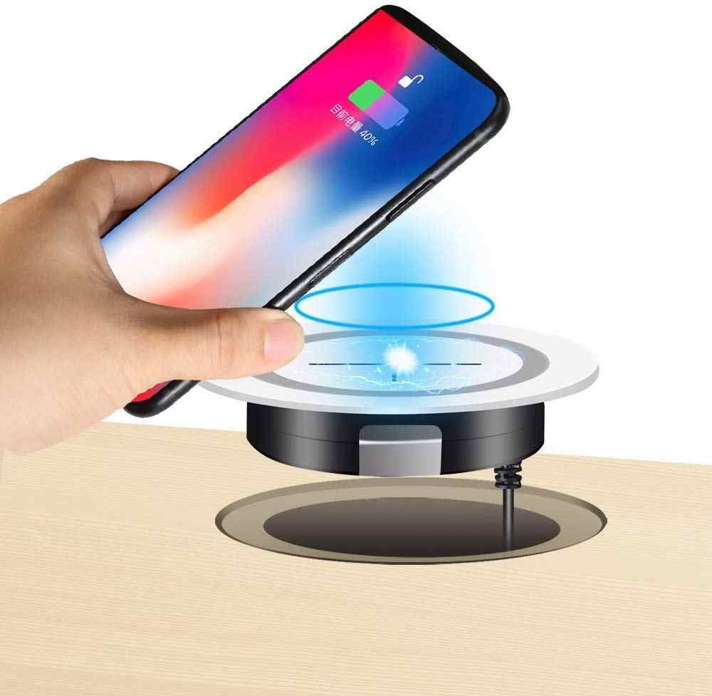 JE Desk Wireless Charger, Desktop Grommet Power Charging Pad Compatible iPhone11/11Pro/11Pro Max/Xs/XR/XS/X/8/8 Plus, Galaxy Not