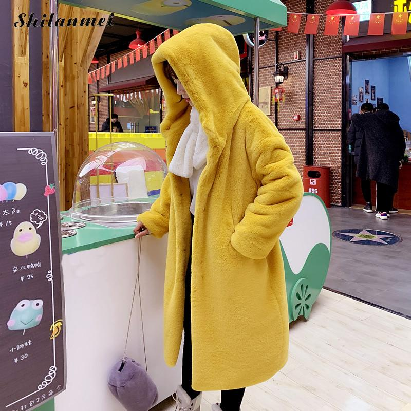 Yellow Furry Fur Coat Women Plus Size Winter Warm Coat Female Fashion Hooded Long Fur Jacket Korean Style Oversized Fur Jacket in Faux Fur from Women 39 s Clothing