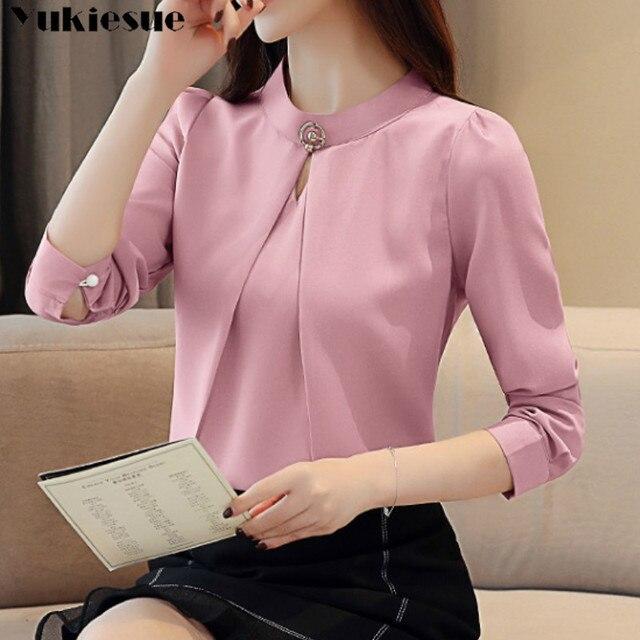 fashion woman blouses 2020 long sleeve chiffon blouse shirt long sleeve women shirts womens tops and blouses blusas femininas 5